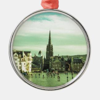 Vintage Edinburgh Silver-Colored Round Ornament