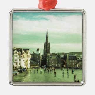 Vintage Edinburgh Silver-Colored Square Ornament