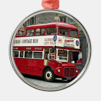 Vintage Edinburgh Tour Bus, Scotland, UK Silver-Colored Round Ornament