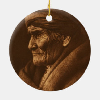Vintage Edward S Curtis Geronimo Photograph Ceramic Ornament