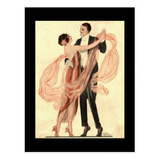 Vintage Edwardian Dancing Couple Postcard