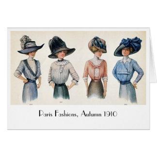 Vintage Edwardian Fashion from Paris 1910 Notecard