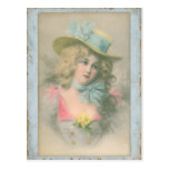 Vintage Edwardian Lady in Blue1900s Postcards
