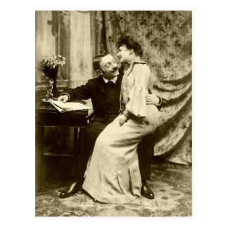 Vintage Edwardian Romantic Couple Postcard
