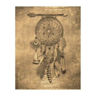 Vintage Effects   Feathers Dream Catcher   Sepia Wood Prints