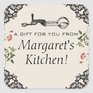 Vintage egg beater bakery baking gift tag label square sticker