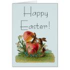 Vintage Egg & Easter Rabbits Kissing Card