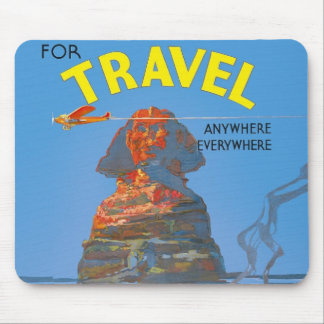 Vintage Egypt Air Travel Advertisement Mouse Pad