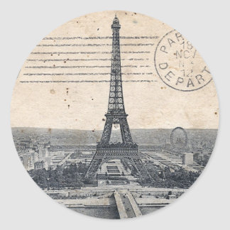Vintage Eiffel Tower Classic Round Sticker
