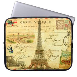 Vintage Eiffel Tower collage stamped postmarked Laptop Sleeve
