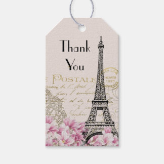 Vintage Eiffel Tower Collage Wildflowers Thank You Gift Tags