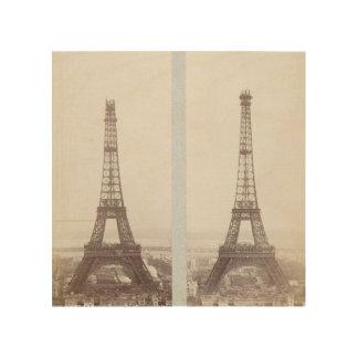 Vintage Eiffel Tower construction photo Paris Wood Prints
