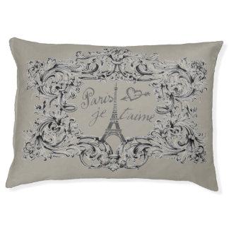 """Vintage Eiffel Tower Design """"Paris Je taime"""" Pet Bed"""