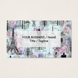 Vintage Eiffel Tower mannequin floral collage Business Card