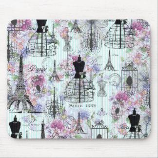 Vintage Eiffel Tower mannequin floral collage Mouse Pad