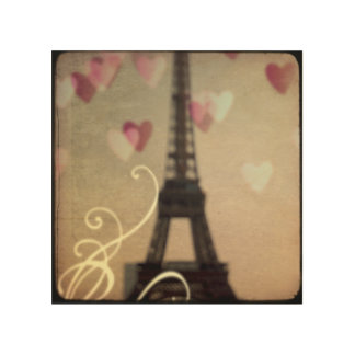 Vintage Eiffel Tower on wood wall art