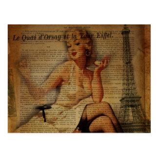 vintage eiffel tower Paris fashionista pin up girl Postcard