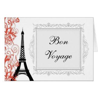 Vintage Eiffel Tower Paris France Bon Voyage Card