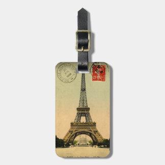 Vintage Eiffel Tower   Paris France - luggage tag