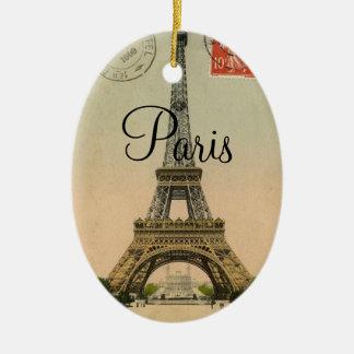 Vintage Eiffel Tower Paris France Postcard Ceramic Oval Ornament