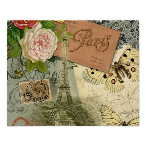 Vintage Eiffel Tower Paris France Travel collage Poster