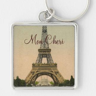 Vintage Eiffel Tower postcard Paris France Keychain