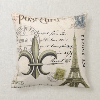 Vintage Eiffel Tower postcard pillow