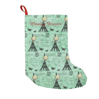 Vintage Eiffel Tower Postcards on Green Small Christmas Stocking