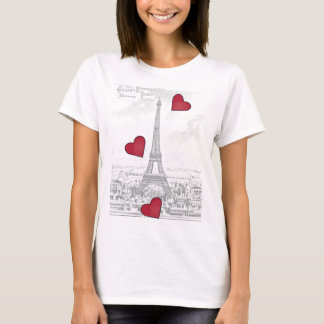 Vintage Eiffel Tower -red hearts T-Shirt
