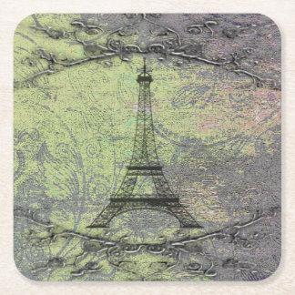 Vintage Eiffel Tower Square Paper Coaster