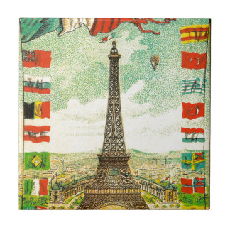 Vintage Eiffel Tower world flags Paris Armour Tile