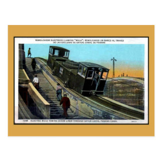 Vintage electric mule towing liner Panama canal Postcard