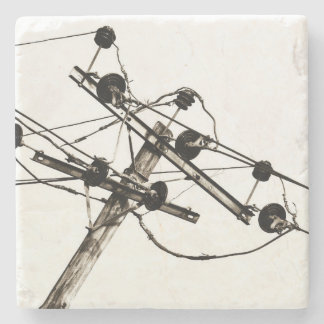 Vintage Electric Pole Stone Coaster
