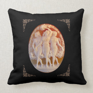 Vintage Elegance, 3-Graces Throw Pillow