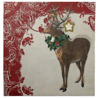 Vintage Elegance Christmas Deer Antlers Damask Cloth Napkins