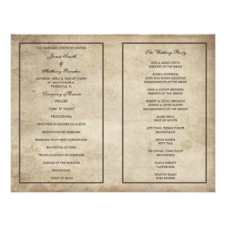 Vintage Elegance Distressed Paper Wedding Program