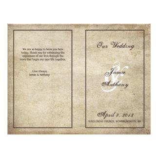 Vintage Elegance Distressed Wedding Program Personalized Flyer