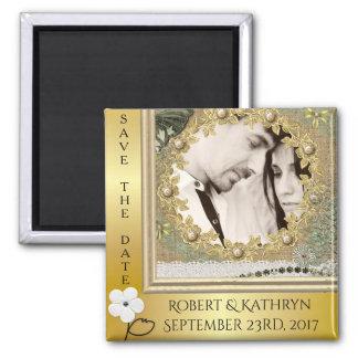 Vintage Elegance Save The Date Wedding Magnet