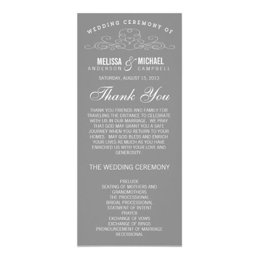 VINTAGE ELEGANCE | WEDDING PROGRAM RACK CARD TEMPLATE