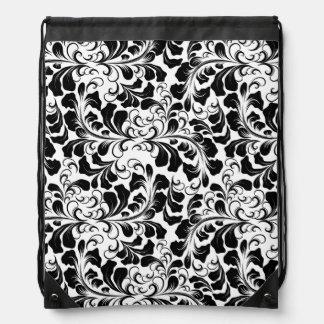 Vintage elegant black and white boho vines pattern drawstring bag
