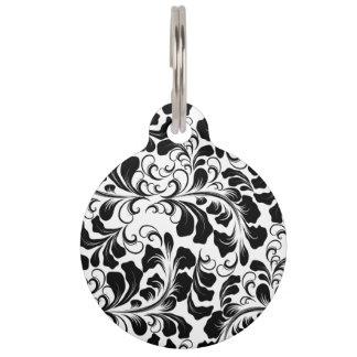 Vintage elegant black and white boho vines pattern pet name tag