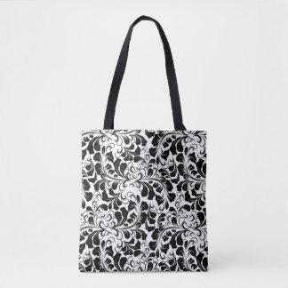 Vintage elegant black and white boho vines pattern tote bag