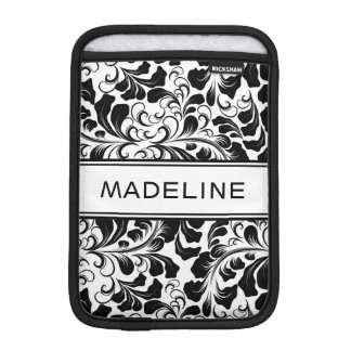 Vintage elegant black and white vines custom name iPad mini sleeve