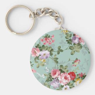 Vintage elegant blush pink red roses flowers keychain
