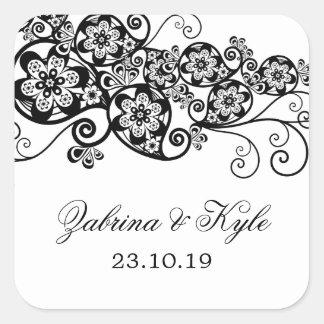 Vintage Elegant Boho Floral Paisley Wedding Favors Square Sticker