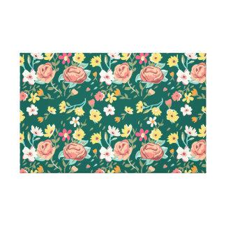 Vintage elegant colorful floral pattern stretched canvas print