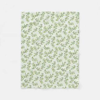 Vintage Elegant Cute Green Leaves Fleece Blanket