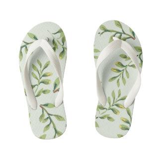 Vintage Elegant Cute Green Leaves Kid's Flip Flops