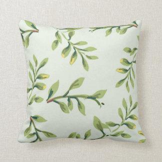 Vintage Elegant Cute Green Leaves Throw Pillow