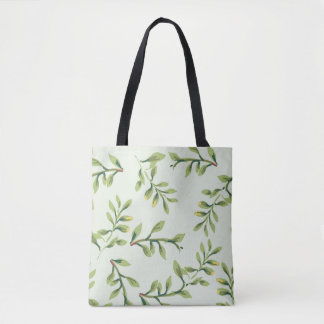 Vintage Elegant Cute Green Leaves Tote Bag